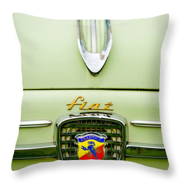 1959 Fiat 600 Derivazione 750 Abarth Hood Ornament Throw Pillow by Jill Reger