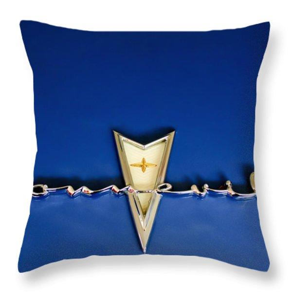 1959 Pontiac Bonneville Emblem Throw Pillow by Jill Reger