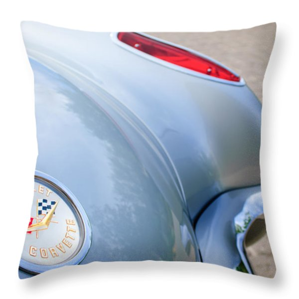 1960 Chevrolet Corvette Emblem - Taillight Throw Pillow by Jill Reger