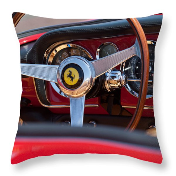 1960 Ferrari 250 GT Cabriolet Pininfarina Series II Steering Wheel Emblem Throw Pillow by Jill Reger