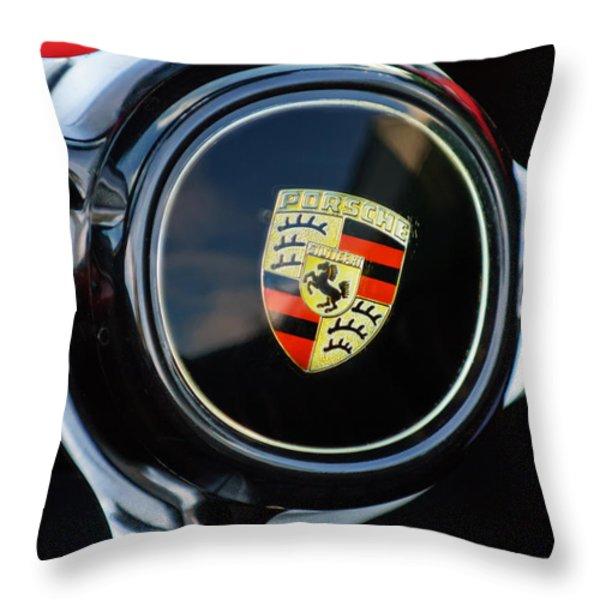 1960 Porsche 356 B Roadster Steering Wheel Emblem Throw Pillow by Jill Reger
