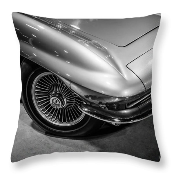 1960's Corvette C2 in Black and White Throw Pillow by Paul Velgos
