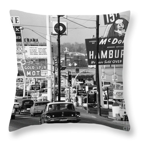 1960s Denver Scene Throw Pillow by Myron Wood