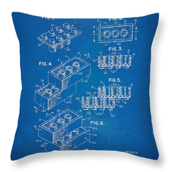 1961 Toy Building Brick Patent Artwork - Blueprint Throw Pillow by Nikki Marie Smith