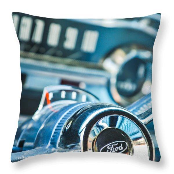 1963 Ford Falcon Futura Convertible  Steering Wheel Emblem Throw Pillow by Jill Reger