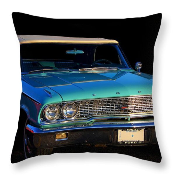 1963 Ford Galaxy Throw Pillow by Davandra Cribbie