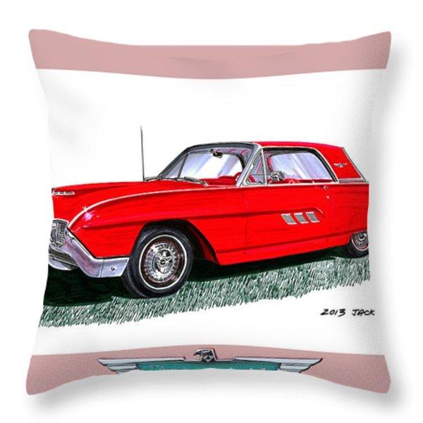 1963 Ford Thunderbird Throw Pillow by Jack Pumphrey