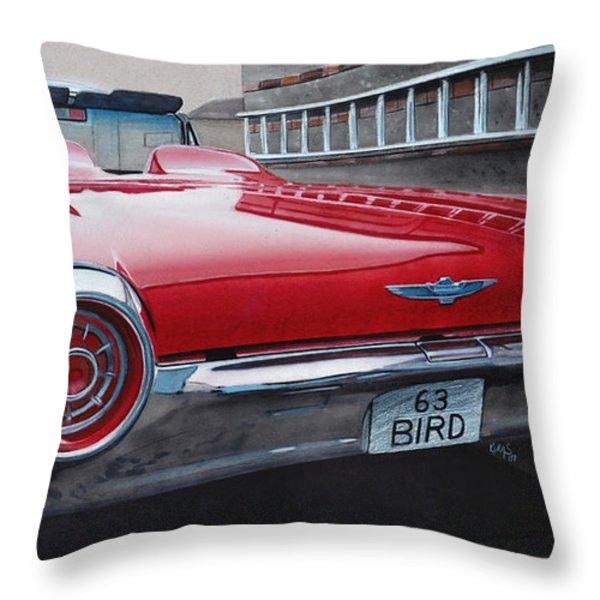 1963 Ford Thunderbird Throw Pillow by Paul Kuras