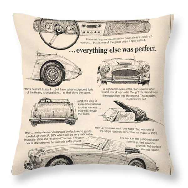 1964 Austin Healey Throw Pillow by Nomad Art And  Design