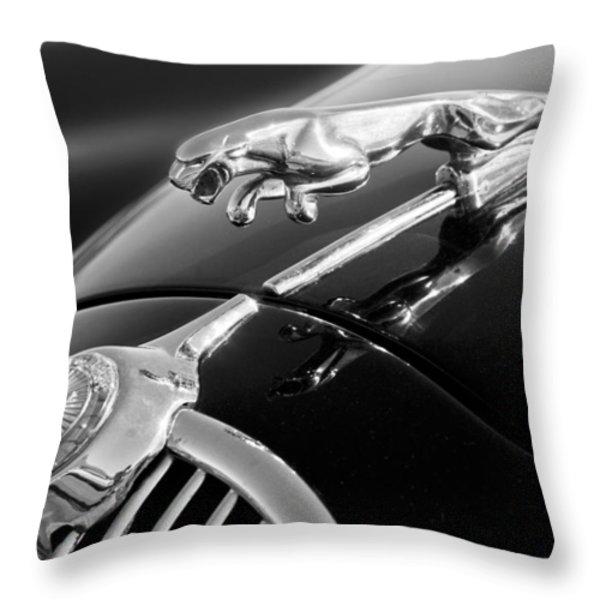 1964 Jaguar Mk2 Saloon Hood Ornament And Emblem Throw Pillow by Jill Reger