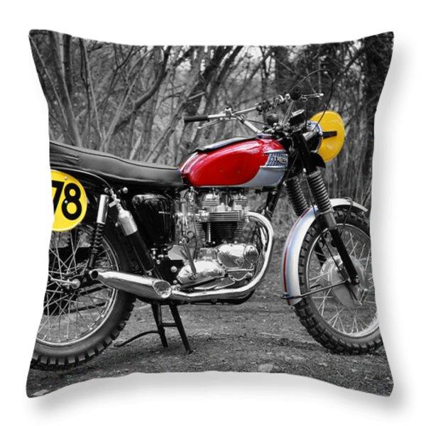 1964 Steve McQueen ISDT Throw Pillow by Mark Rogan