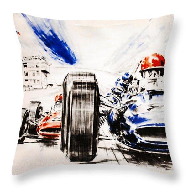 1965 Grand Prix de Paris Throw Pillow by Nomad Art And  Design