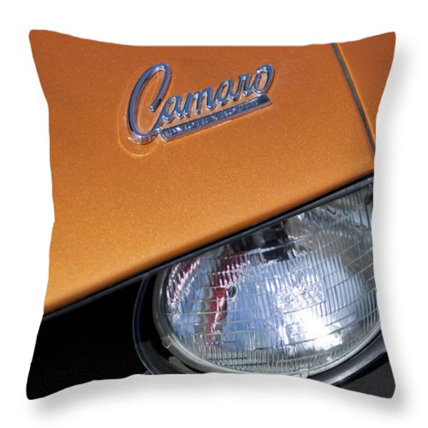 1969 Chevrolet Camaro Headlight Emblem Throw Pillow by Jill Reger