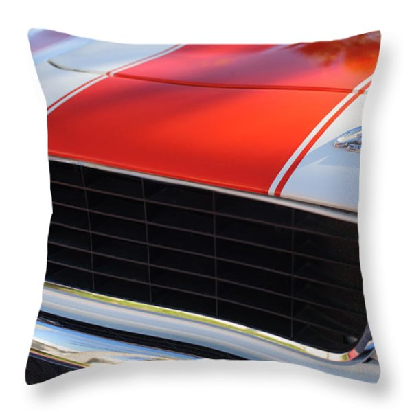 1969 Chevrolet Camaro Rs-ss Indy Pace Car Replica Grille - Hood Emblems Throw Pillow by Jill Reger