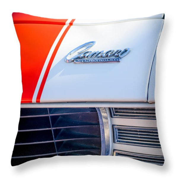 1969 Chevrolet Camaro RS-SS Indy Pace Car Replica Hood Emblem Throw Pillow by Jill Reger