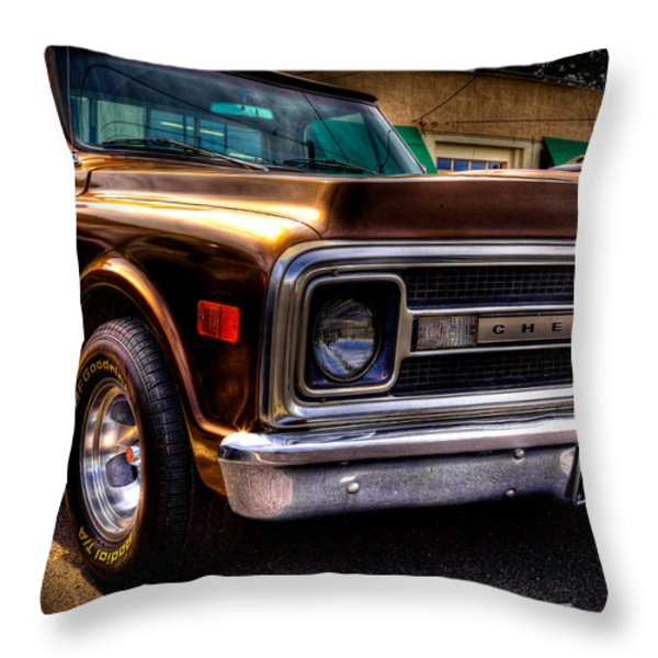 1969 Chevrolet Pickup Iv Throw Pillow by David Patterson