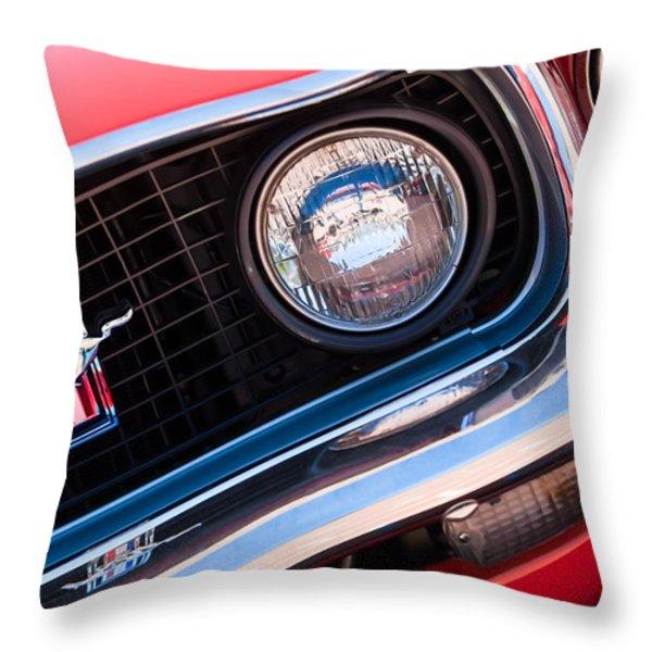 1969 Ford Mustang Boss 429 Grille Emblem Throw Pillow by Jill Reger