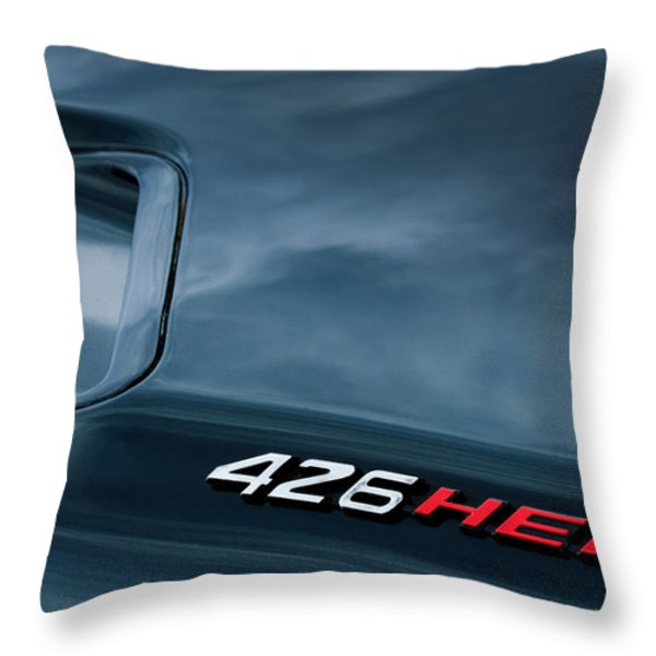 1971 Dodge Hemi Challenger RT 426 Hemi Emblem Throw Pillow by Jill Reger