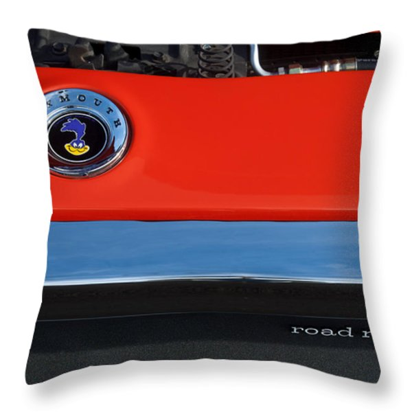 1972 Plymouth Road Runner Hood Emblem Throw Pillow by Jill Reger