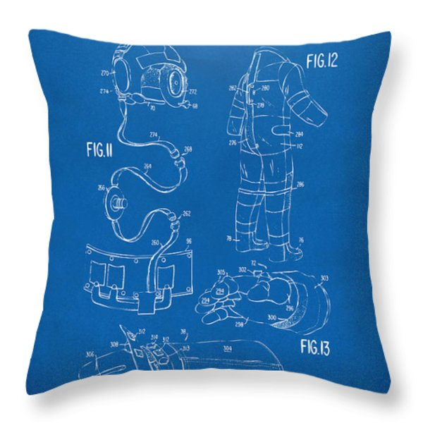 1973 Space Suit Elements Patent Artwork - Blueprint Throw Pillow by Nikki Marie Smith