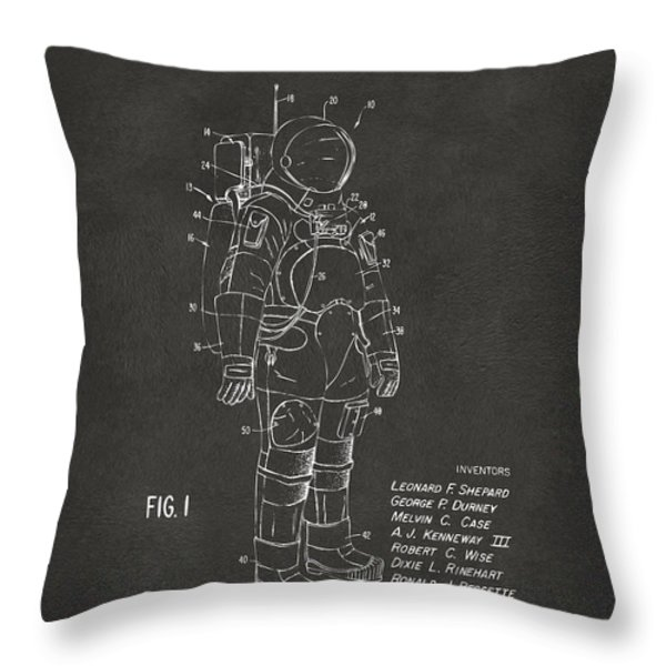 1973 Space Suit Patent Inventors Artwork - Gray Throw Pillow by Nikki Marie Smith