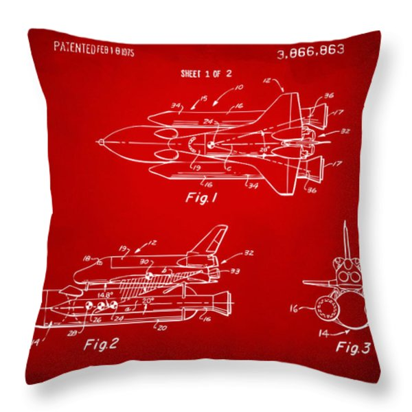 1975 Space Shuttle Patent - Red Throw Pillow by Nikki Marie Smith