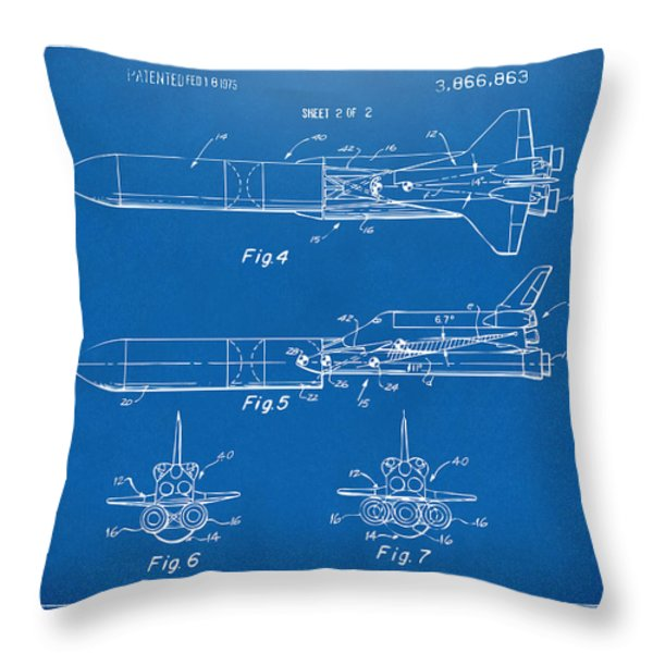 1975 Space Vehicle Patent - Blueprint Throw Pillow by Nikki Marie Smith