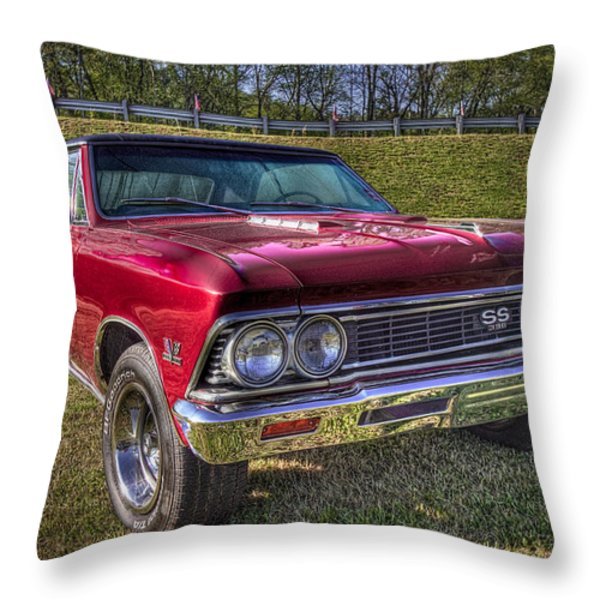 1976 Chevelle Ss 396 Throw Pillow by Debra and Dave Vanderlaan