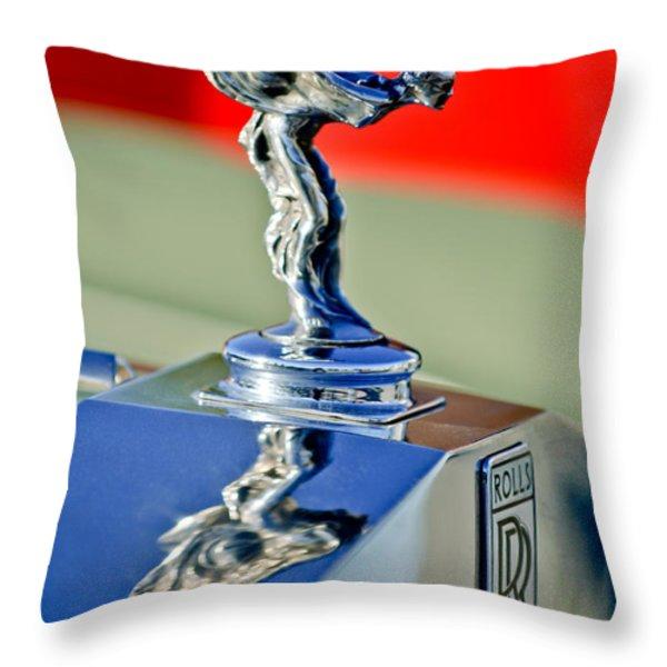 1976 Rolls Royce Silver Shadow Hood Ornament Throw Pillow by Jill Reger