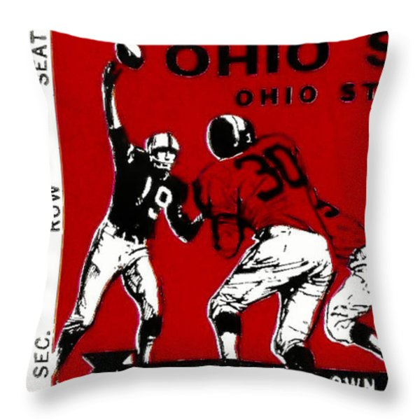 1979 Ohio State Vs Wisconsin Football Ticket Throw Pillow by David Patterson