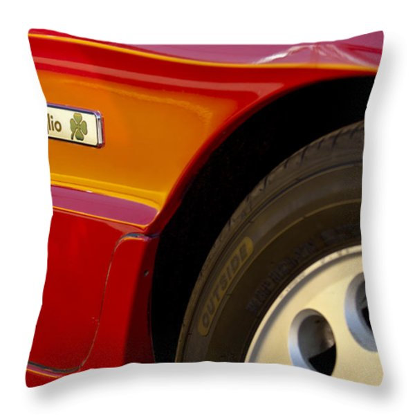 1988 Alfa Romeo Spider Quad Emblem Throw Pillow by Jill Reger