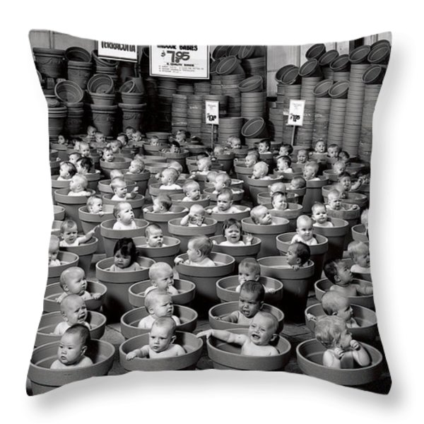 123 Pots Throw Pillow by Anne Geddes