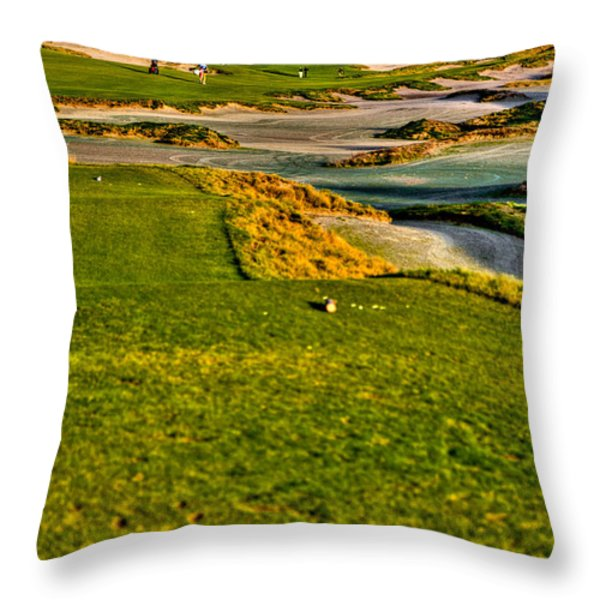 #18 at Chambers Bay Golf Course - Location of the 2015 U.S. Open Tournament Throw Pillow by David Patterson