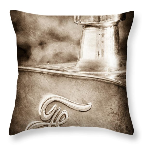 1911 Ford Model T Torpedo 4 cylinder 25 HP Hood Ornament - Emblem Throw Pillow by Jill Reger