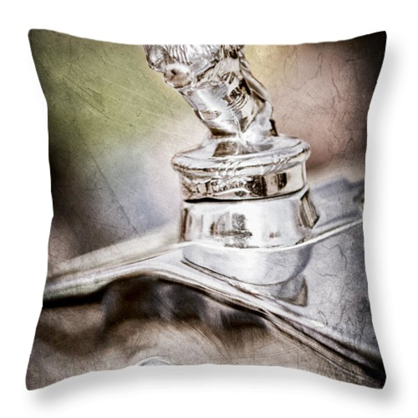 1927 Franklin Sedan Hood Ornament Throw Pillow by Jill Reger