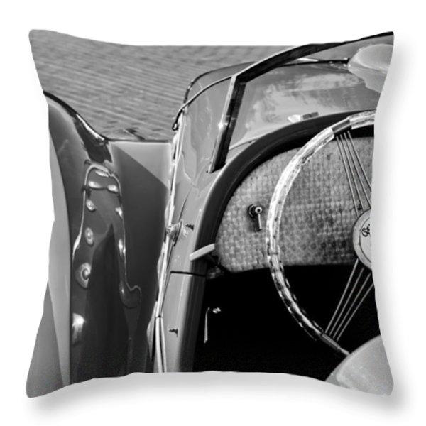 1937 Peugeot 402 Darl'Mat Legere Speacial Sport Roadster Recreation Steering Wheel Emblem Throw Pillow by Jill Reger