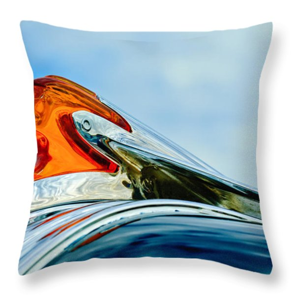 1950 Pontiac Hood Ornament Throw Pillow by Jill Reger
