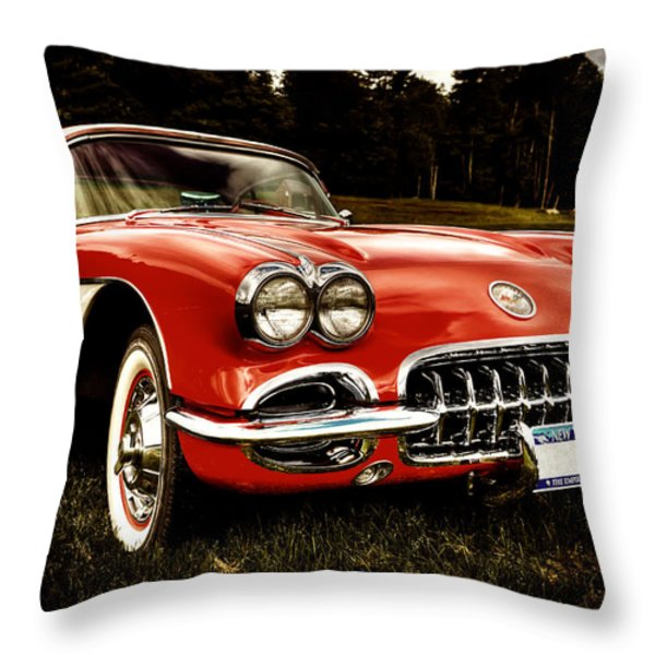 1960 Chevy Corvette Throw Pillow by David Patterson