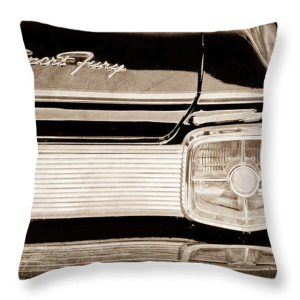 1963 Plymouth Sport Fury Taillight Emblem Throw Pillow by Jill Reger
