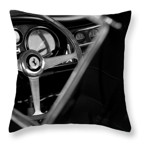 1967 Ferrari 275 GTB 4 Steering Wheel Emblem Throw Pillow by Jill Reger