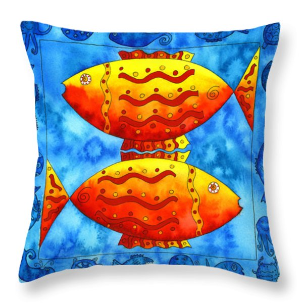 2 Fish Square Throw Pillow by Julie Nicholls