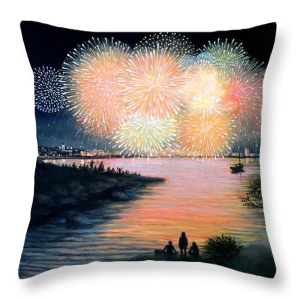 4th of July Gloucester Harbor Throw Pillow by Eileen Patten Oliver