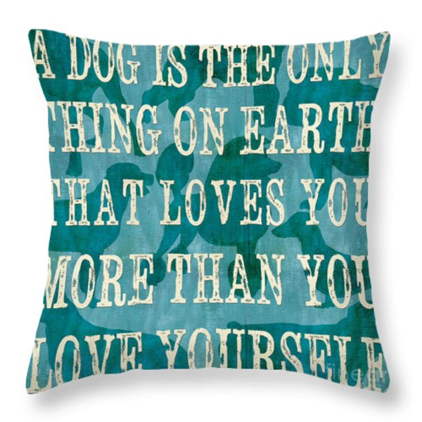 A Dog Throw Pillow by Debbie DeWitt