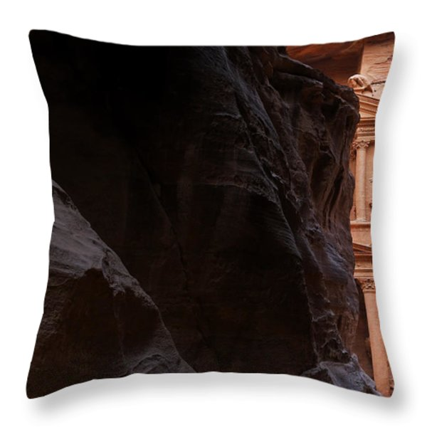 A Glimpse Of Al Khazneh From The Siq In Petra Jordan Throw Pillow by Robert Preston