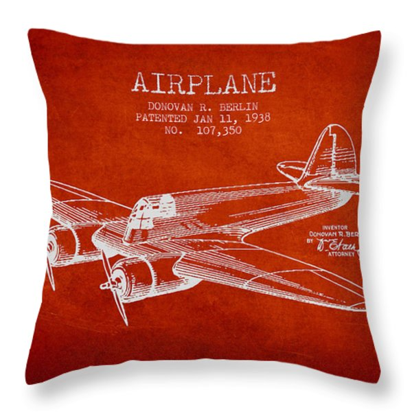 Airplane Patent Drawing From 1938 Throw Pillow by Aged Pixel