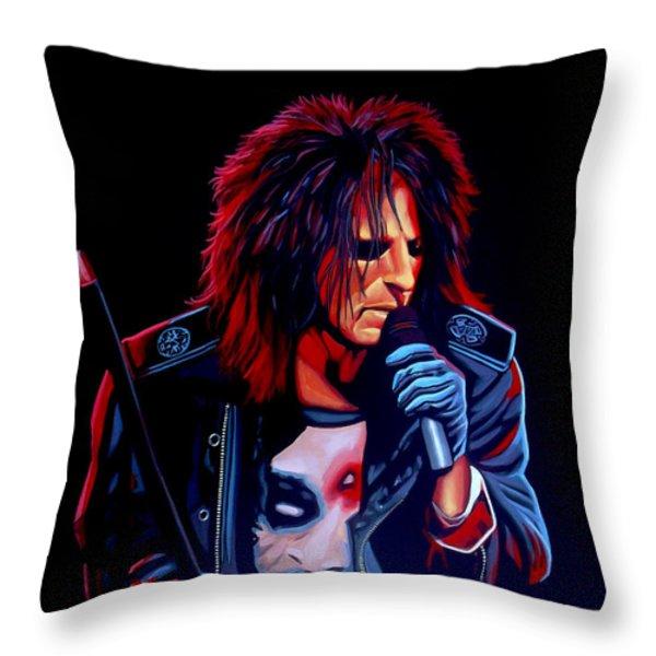 Alice Cooper  Throw Pillow by Paul Meijering