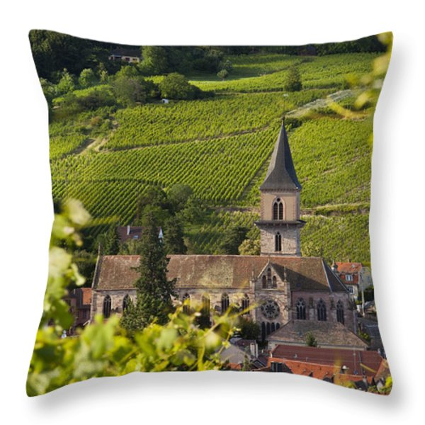 Alsace Church Throw Pillow by Brian Jannsen