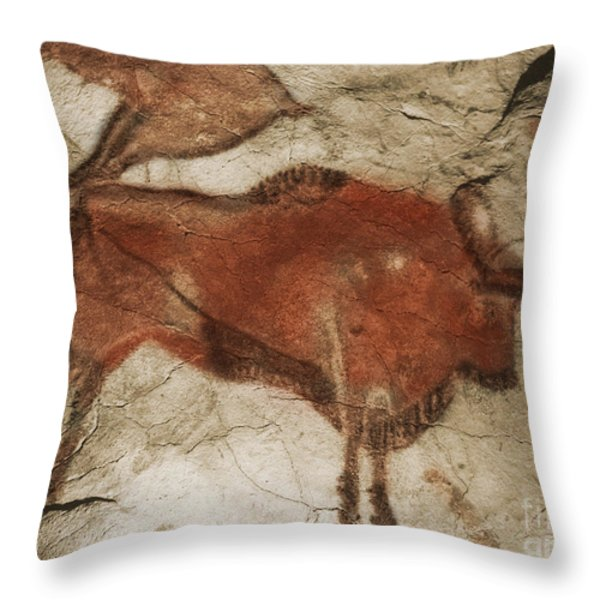Altamira Cave Paintings Throw Pillow by Photo Researchers