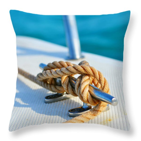 Anchor Line Throw Pillow by Laura  Fasulo