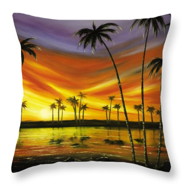 Another Sunset In Paradise Throw Pillow by Gina De Gorna